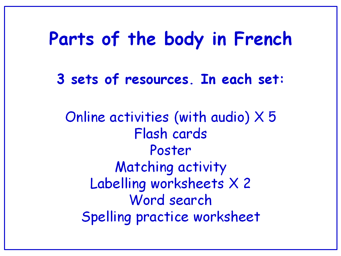 Parts of the Body in French  Worksheets, Games, Activities and Flash Cards (with audio) Bundle (3 sets)