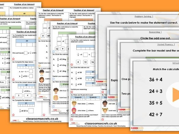 Year 5 Fraction of an Amount Spring Block 2 Step 19 Maths  Lesson Pack