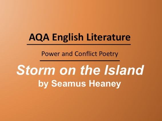 Storm on the Island by Seamus Heaney Lesson