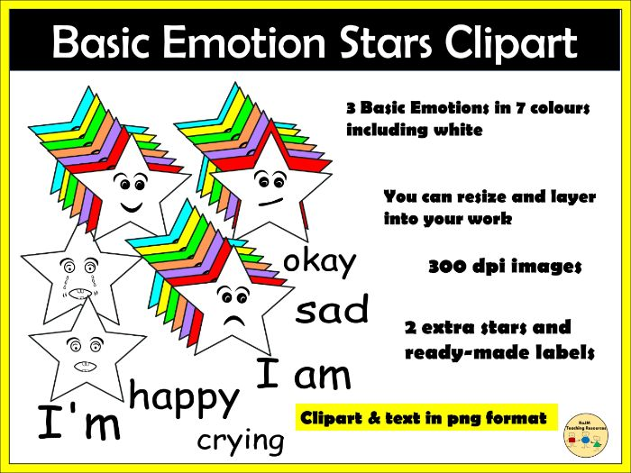 Emotions Clipart Set Star Shapes