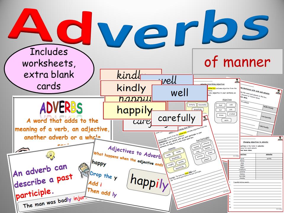 Adverbs Of Manner Display Worksheetsactivities On Adverbs Adverb