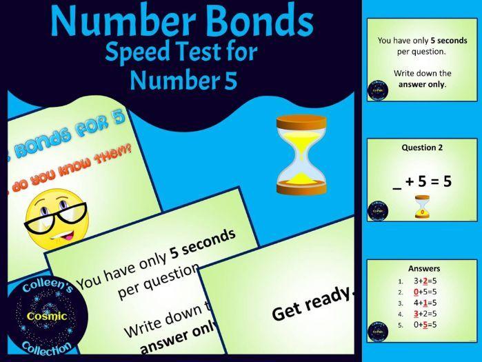 Number Bonds Speed Test for Number 5