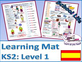 PRIMARY SPANISH VOCABULARY LEARNING MAT (KS2/3): Class items,instructions, register, time ( hourly),