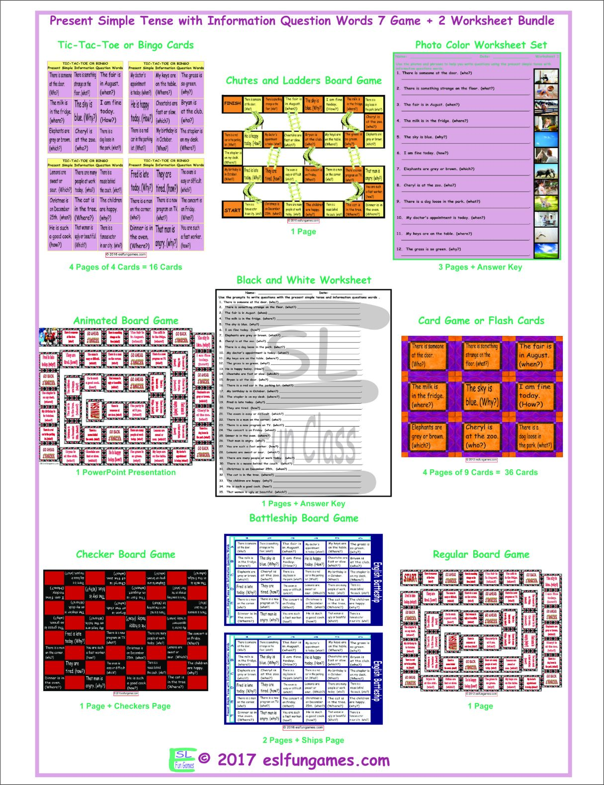 Present Simple Tense with Information Question Words 7 Game Plus 2 Worksheet Bundle
