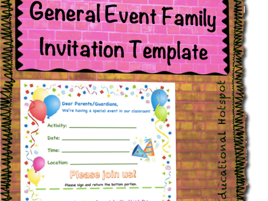 Family Event Invitation Form Template General