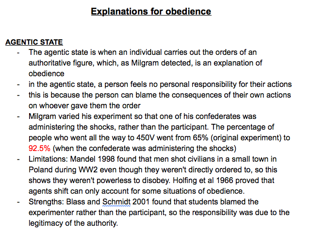 A Level Psychology Social Influence: Explanations For Obedience