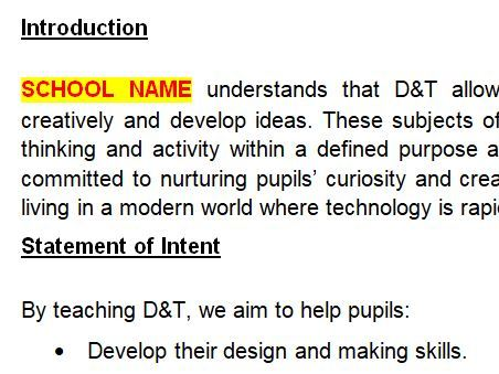 Primary School DT Policy
