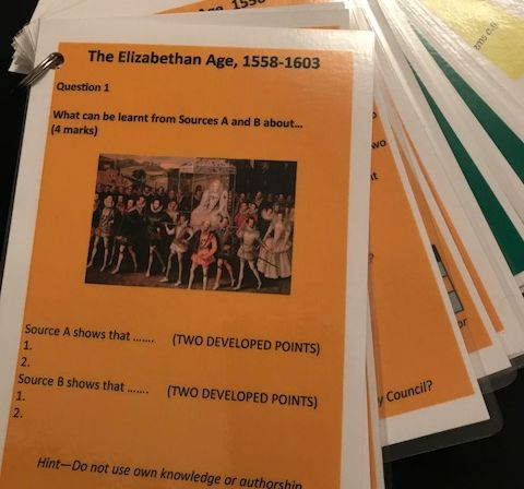 Eduqas / WJEC GCSE History The Elizabethan Age 1558-1603   Question revision cards and posters