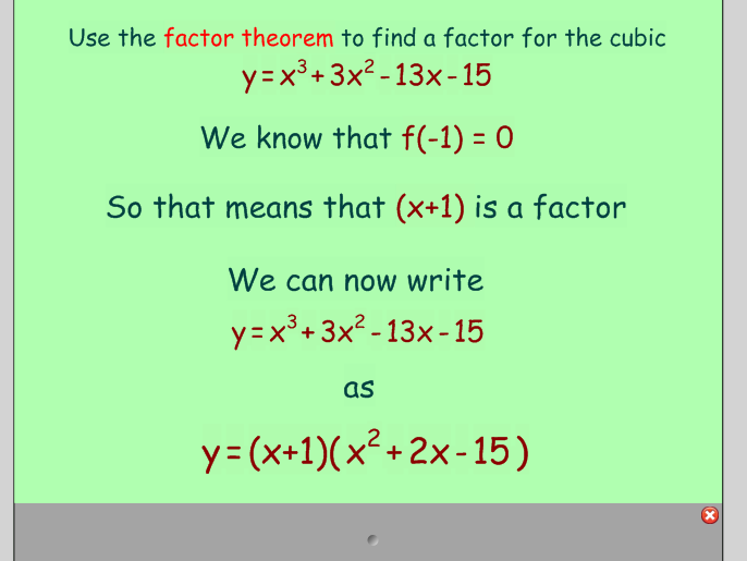 Factor Theorem and Remainder Theorem
