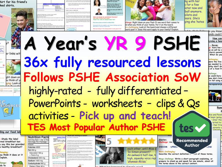 PSHE: 1 Year's Yr 9 PSHE Resources