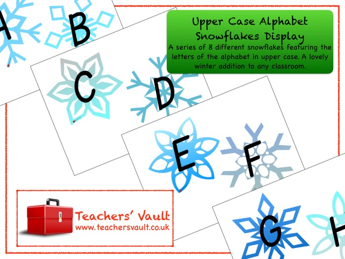 Upper Case Alphabet Snowflakes Display