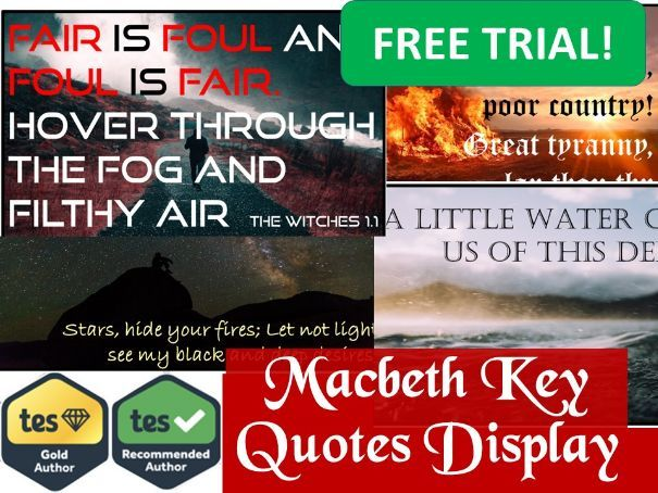 Macbeth Key Quotes Revision Display - FREE TRIAL!