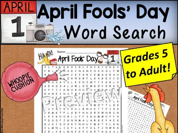 April Fools' Day – Hard Word Search Grades 5 and Up