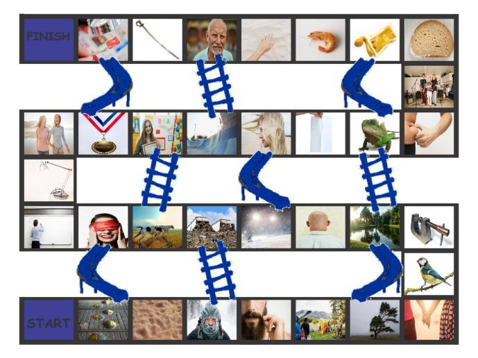 Phonics Final Consonant Clusters mp-nd-ld-rd Photo Chutes-Ladders Game