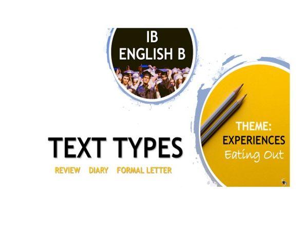 IB ENG B TEXT TYPE TEACHING UNIT: BUNDLE: LETTER, DIARY, REVIEW