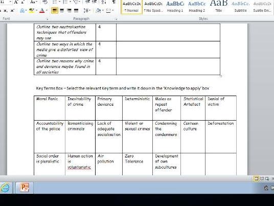 AQA 4 & 6 mark Crime & Deviance Questions: A Level Sociology Revision Lesson