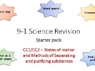 C1,2 States of matter and Methods of separating and purifying Revision starter pack Science 9-1