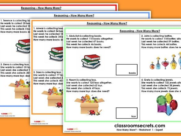 SATs KS1 Reasoning How Many More? Test Practice