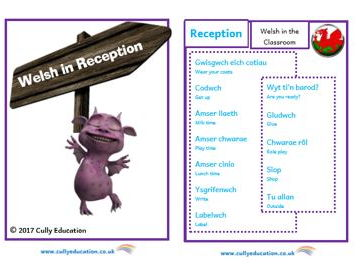 Incidental Welsh Booklet for the Reception Classroom