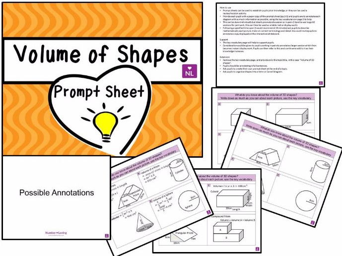 Volume of 3D Shapes (Prompt Sheet)