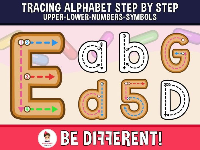 Alphabet Tracing Letters Clipart - Step By Step (Upper, Lower, Numbers, Sym.)