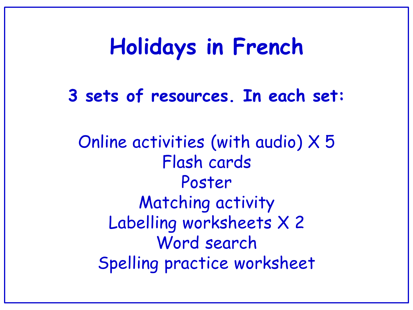 Holidays in French  Worksheets, Games, Activities and Flash Cards (with audio) Bundle (3 sets)