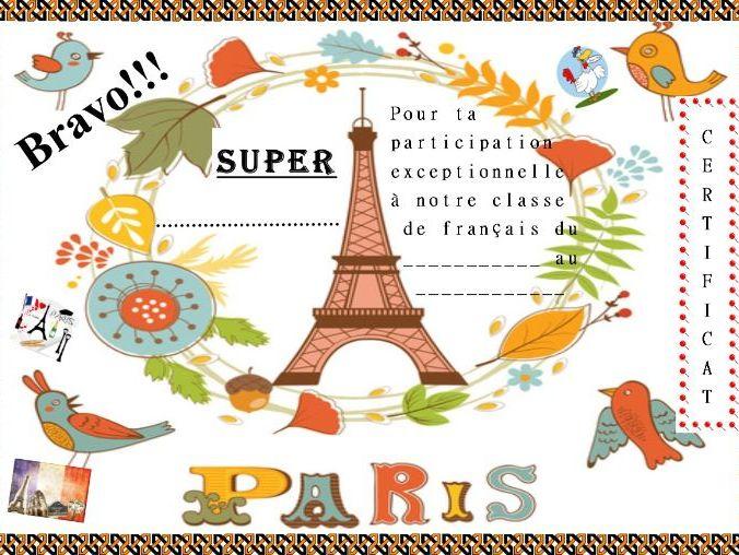 General French certificate 17/ Certificat de francais 17