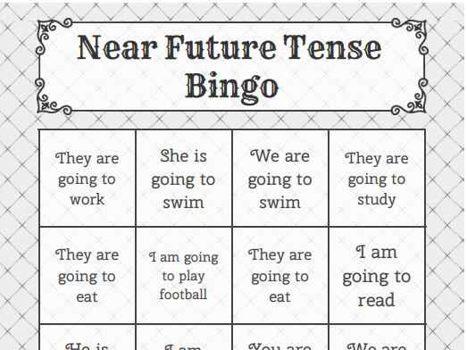 Spanish near future bingo