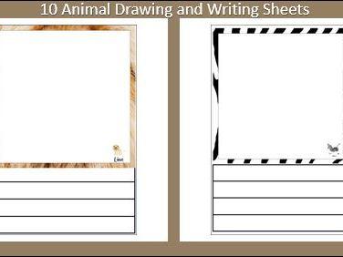 10 Animal Drawing and Writing Sheets