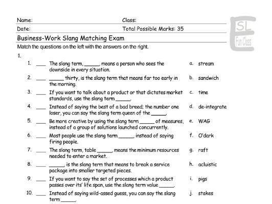Business-Work Slang Matching Exam