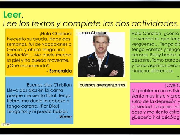 KS3/4 Spanish - 2x lessons ¿Qué te duele? / What hurts? (Parts of the body and health)