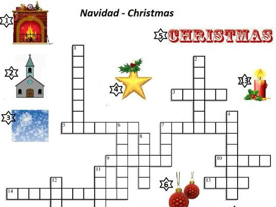 Spanish Crossword Navidad Christmas English clues and Picture Clues w/answers