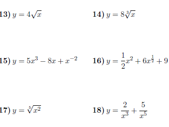 Derivatives for GCSE/GCSE worksheets