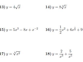 Derivatives for GCSE/GCSE worksheets