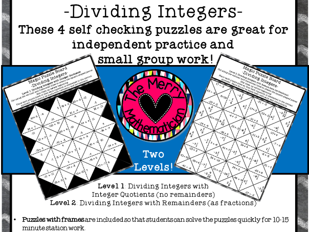 Dividing Integers Magic Puzzle Boards