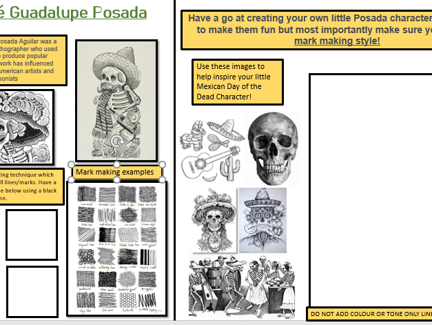 Day of the Dead worksheet- José Guadalupe Posada