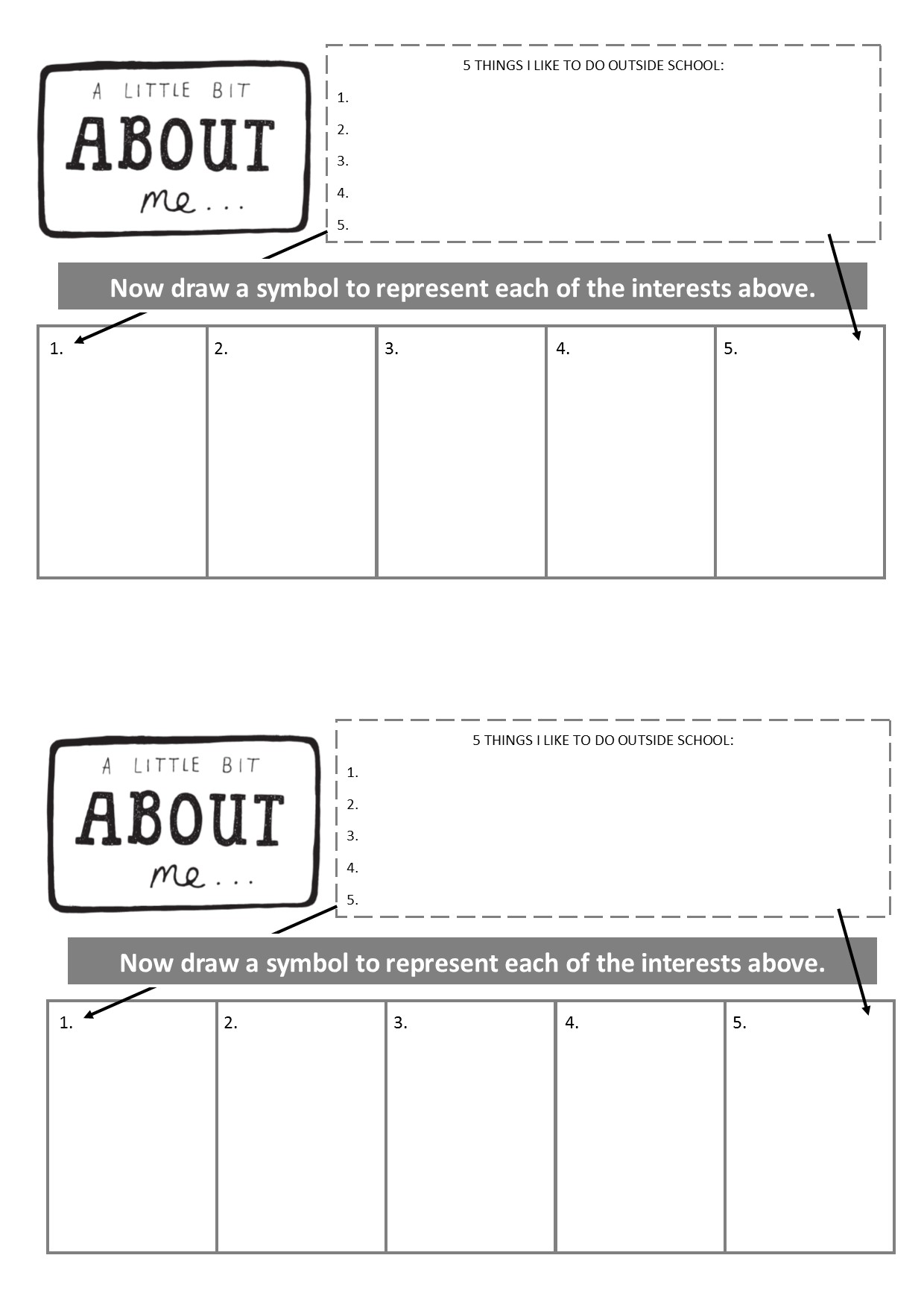 'About Me' Symbolism Worksheet