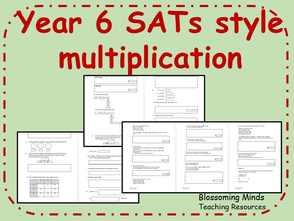 ks2 year 6 sats maths revision multiplication word problems and arithmetic differentiated. Black Bedroom Furniture Sets. Home Design Ideas