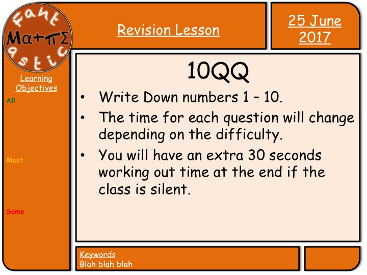 Ten Quick Questions - Revision Powerpoint
