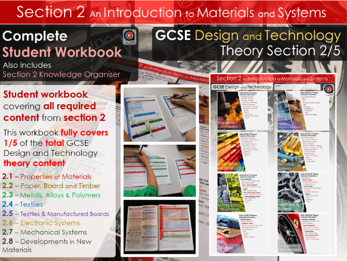 GCSE DT Theory - Section 2/5 - Workbook - An Introduction to Materials and Systems