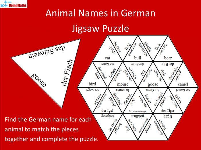 German Vocabulary Jigsaw Puzzle - Animal Names