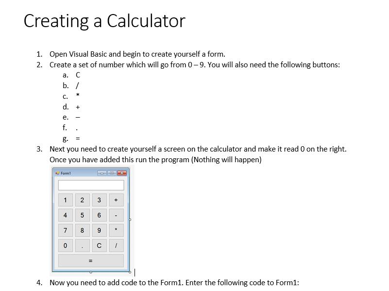 Programming Basics: Creating a calculator (Visual Basic)