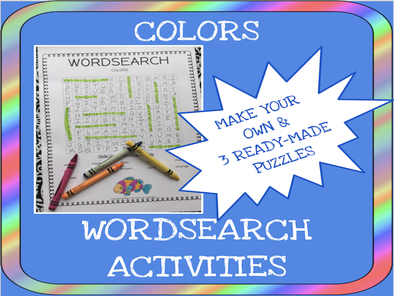 Colors word search activities - Make your own word search