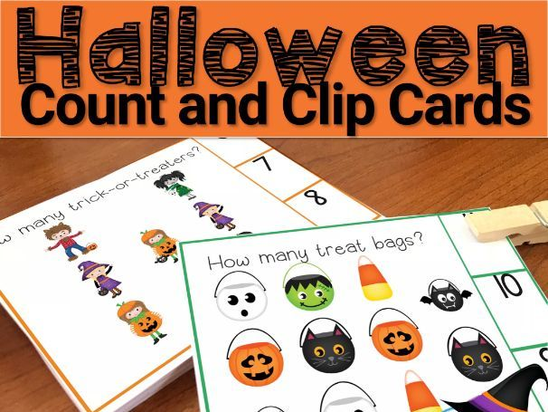 Halloween Counting Clip Card Task Cards