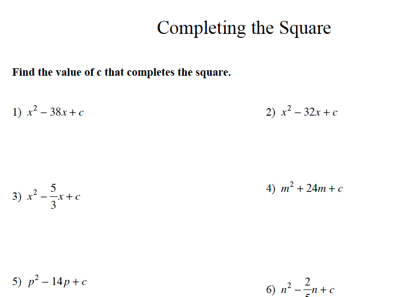 GCSE Maths 9-1 GCSE Exam Paper on Completing the Square by AJMaths ...
