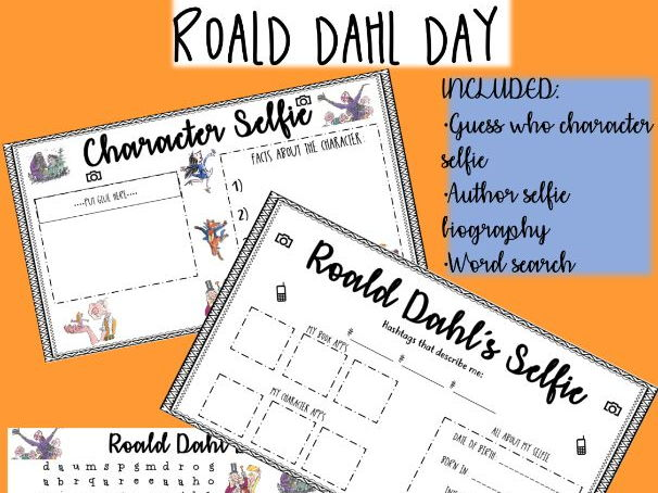 ROALD DAHL DAY - Character guess who, wordsearch & biography