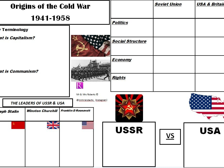 Edexcel GCSE History - Cold War - Topic 1 - Origins of the Cold War - WORKSHEET