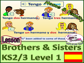 PRIMARY SPANISH LESSON (KS2/3): Family; How many brothers and sisters you have; Numbers 1-12 Song;