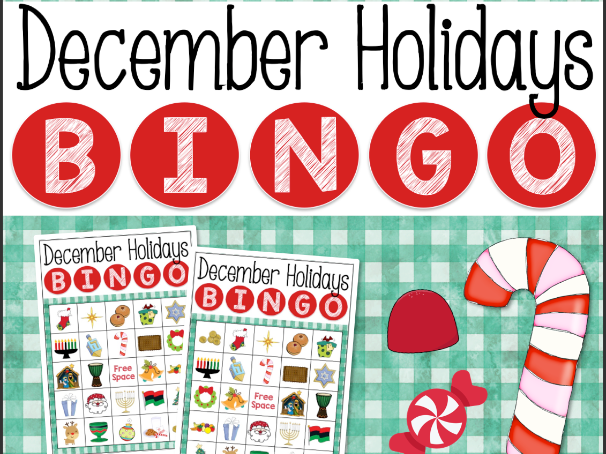 December Holidays Bingo Game for Powerpoint CHRISTMAS HANUKKAH KWANZAA