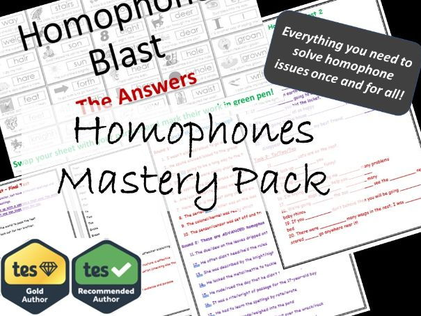 Homophones Mastery Lessons And Worksheets SPaG By